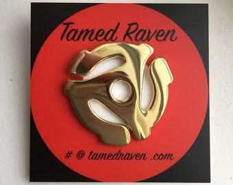 Seconds Sale Vinyl Record Adapter Gold Lapel Pin Enamel Pin