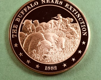 Franklin Mint Medal History of United States Series The Buffalo Nears Extinction  1882, 44 mm Bronze Mint Condition<>#PSY-165