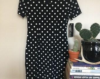 Black and White Polka Dot Dress // Vintage Polka Dot Dress // Vintage Black Dress