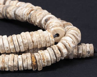 Ancient ostrich eggshell beads strand. Turkana, Kenya. Tribal, ethnic jewelry