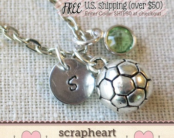 Hand Stamped SOCCER Ball Necklace, Soccer Coach Gift, Sports Mom, Soccer Ball Charm Jewelry, Varsity Soccer Gifts Necklace, Soccer Tots