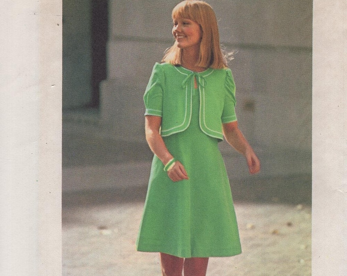 FREE US SHIP Simplicity 6840 Vintage Retro 1970's 70's Jiffy Dress Jacket Pullovers New Uncut Size 14&16 Bust 36 38