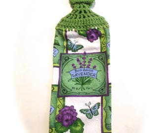 Lavender Flower Hand Towel With Grass Green Crocheted Top