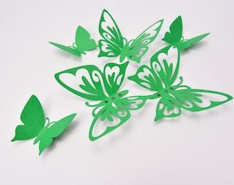 Green Wall Decor Butterflies - Wall Art Butterflies - 3D Paper Butterflies - Butterfly Room Decor - Butterfly Party Decoration