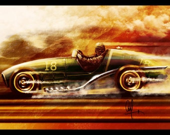 Vintage Automotive Art : 1950's Conceptual Grand Prix car 16x24 Metallic Print