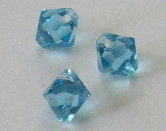 Swarovski elements Top-Drilled Bicone 6301 Pendants Aquamarine (blue) -- Available in 6mm and 8mm