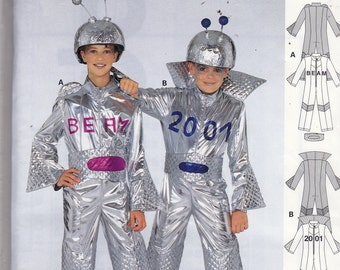 Uncut Burda Sewing Pattern - SPACE COSTUME Space Trac - Size 7 - 12 - Silver Space Suit with Antenna - Spaceman Outer Space Alien