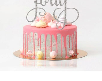 Forty Cake Topper Birthday Cake Topper 40th Birthday Cake Topper Fortieth Cake Topper Rose Gold Cake Topper Age Topper