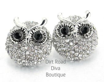 Set of 2 Crystal Covered Owl Snap Button Fits Magnolia and Ginger Snaps 18mm