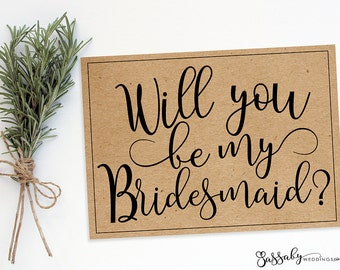 Bridesmaid Request Wedding Card - INSTANT DOWNLOAD -  Printable, Brown Kraft Paper Style, Wedding Stationery, Flat Cards Sassaby Weddings