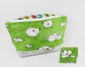 """Knitting Project Bag - NEW!  """"Baa Baa Green Sheep"""" Zippered Large Notions Wedge Bag;  PERFECT for a Swap Package! (V)"""