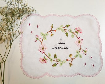 Hand embroidered wall hanging - i need attention