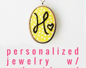Embroidered Necklace. Initial Necklace. Hand Embroidery. Custom Jewelry Gifts for Her. Colorful Monogram Pendant. Custom Jewelry under 50