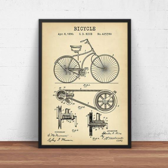 Bicycle patent print vintage bike poster printable digital te gusta este artculo malvernweather Images