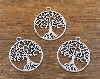 20pcs Tree of Life Charms Antique Silver Tone Double Side 25x29mm - SH461