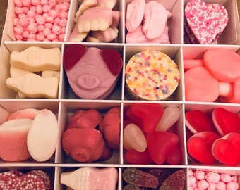 Pink chocolate and sweet box