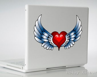Red Heart Wings Tattoo Flash Car Decal Sticker, Vinyl Decal Window Wall Laptop Indoor-Outdoor 100% Waterproof Auto Colorful Vinyl Art Bumper