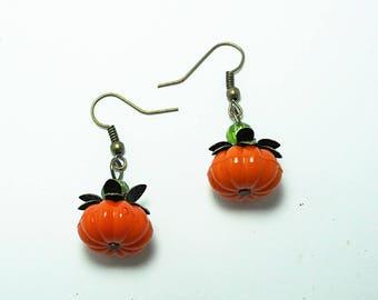 Fall Pumpkin Earrings, Halloween Earrings, Womens Gift Handmade
