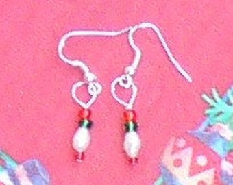 Red,Green and Fresh Water Pearl Earrings