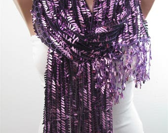 Mothers Day Gift For Her Metallic Purple Scarf Shawl Sequin Scarf Sparkle Scarf Wedding Scarf Bridesmaids Gift   Fashion Accessory Holiday