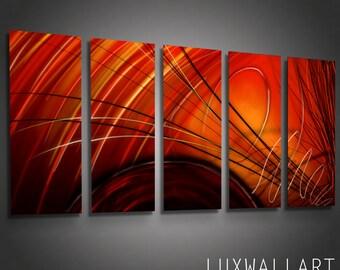 Abstract Metal Wall Art Ninja Red