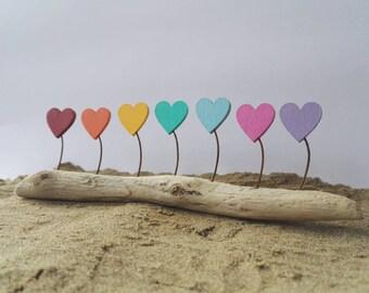 Rainbow heart driftwood sculpture. Nautical folk art. Coastal decoration. Valentine's gift. Gifts for her. Girlfriend