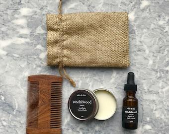 Beard Grooming Kit | Father's Day Gift | Beard Gift Set | Wooden Beard Comb + Beard Oil + Beard Balm | Husband Gift | Boyfriend Gift