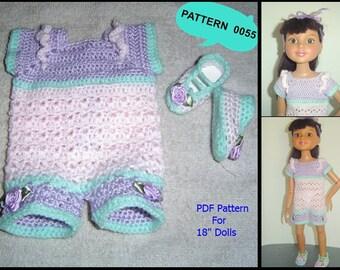 "0055 Romper Doll Set Crochet Pattern Slim 18"" Inch BFC Ink Dolls"