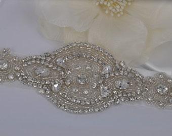 Karlie - Vintage Style Rhinestone Crystals Wedding Belt Sash