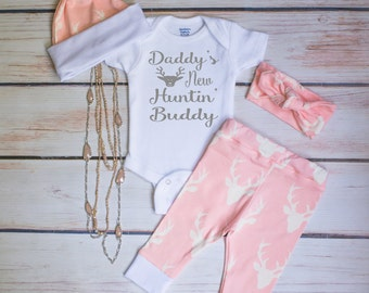 Baby Girl Coming Home Outfit, Light Pink Deer Leggings, Infant Bodysuit, Hat and Headband, Daddy's New Hunting Buddy, Country Outfit