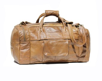 Gingersnap Brown Patch Leather Travel Duffel Bag