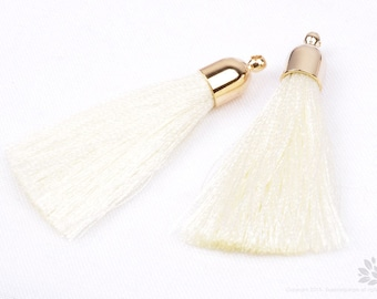 T007-G-WH// Gold Plated Round Cone White Tassel Pendant, 2pcs