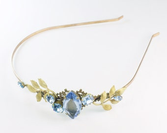 Blue jewel bridal headband vintage brass crystal leaves ornate wedding head piece hair band light sapphire gem filigree