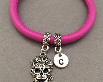 Sugar skull leather bracelet, sugar skull charm bracelet, leather bangle, personalized bracelet, initial bracelet, monogram