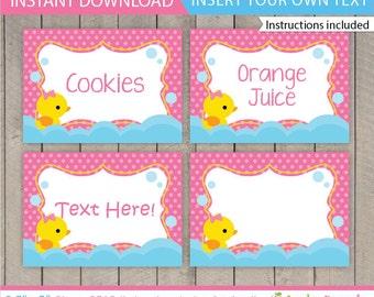 Rubber Duck Food Labels / Duck Food labels / Rubber Duck Birthday Food Tent / Rubber Duck Table Tent / Duck Decoration / INSTANT DOWNLOAD