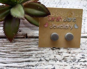 Handmade Clay Earrings - Silver/Grey Glitter