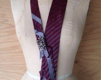Burgundy Origami Silk Tie Necklace