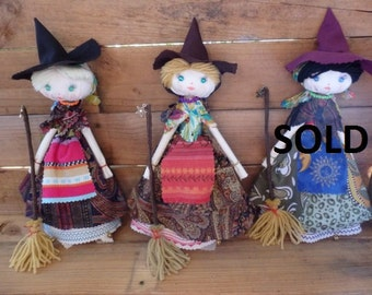Witch Doll | Rag Doll | Rustic Doll | Poppet - Handmade, Unique - Witch, Gypsy, Rustic, Country, Folk