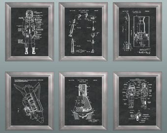 Outer Space Nasa Rocket Wall Decor * Space Gift for Him * Gift-for-Boyfriend * Gift-for-Husband * Unique Gifts Patent Prints Set of 6 PP6600