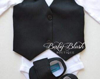 Plain Black Vest Bow tie Baby Boy Outfit Photo Prop Matching Shoes