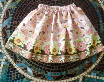 Bumble Bees and Flowers Skirt w Border Print (baby, toddler, girls, infant, child)