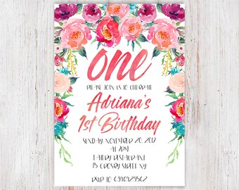 Floral 1st Birthday Invitation, Girl First Birthday Invitation, Watercolor Flowers, One Birthday Invitation, Printable, Digital File 96