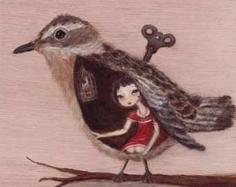 Bird Art Print - Caging the Forest Bird - giclee poster print from original painting