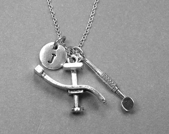Dentist chair necklace, Dental chair necklace, dental mirror necklace, dental tool, personalized necklace, initial necklace, monogram