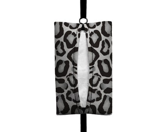 Auto Sneeze - Snow Leopard Print - Visor Tissue Case/Cozy - Car Accessory Automobile Grey Black