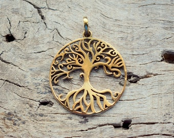Tree of Life Brass , Nickel free , Gold Plated Handmade Pendant - Gift Pendant - Ancient inspired Design #B52