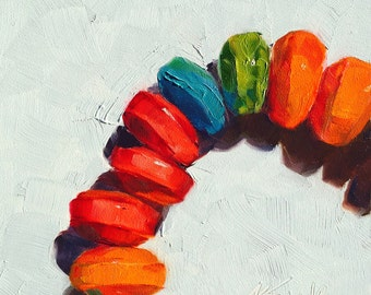 candy necklace  // original oil painting // candy art // candy painting // home decor // food art // food painting // pop art // treat