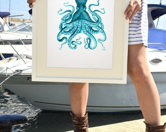 Octopus in turquoise no.09 - Octopus A3 plus sized Poster Wall Art -  sea life print SAS145A3P