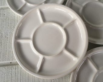 4 Vintage white stoneware plates, Fondue Sushi divided plates, Retro ceramic grill plates, pottery fondue sushi plates, Mid century white