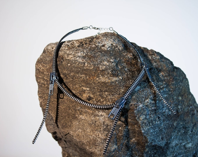 Necklace made of reclaimed zipper, 3 removable sliders, various colors & silver necklace